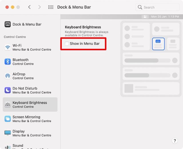 show in menu bar