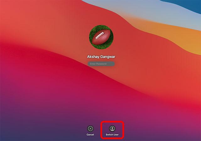 switch users in mac lock screen