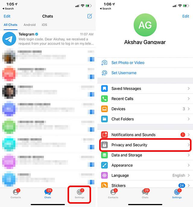 telegram app settings