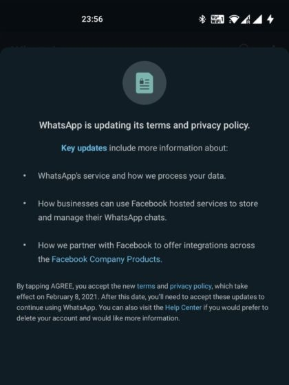 whatsapp new privacy policy pop-up - 2