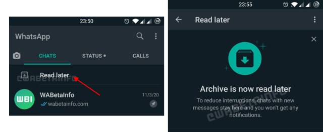 whatsapp read later new feature