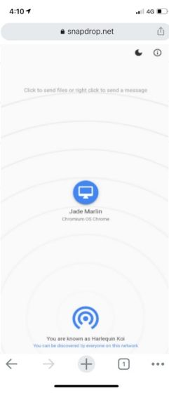 Wirelessly Connect iPhone and Chromebook Through Snapdrop