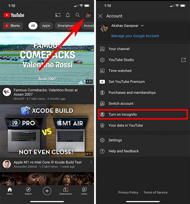 youtube incognito mode app