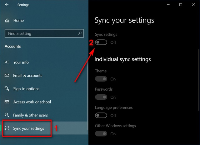 Improve Battery Life in Windows 10 Sync settings
