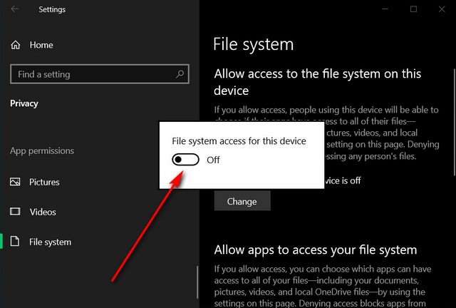 Enable or Disable File System Access for Apps in Windows 10