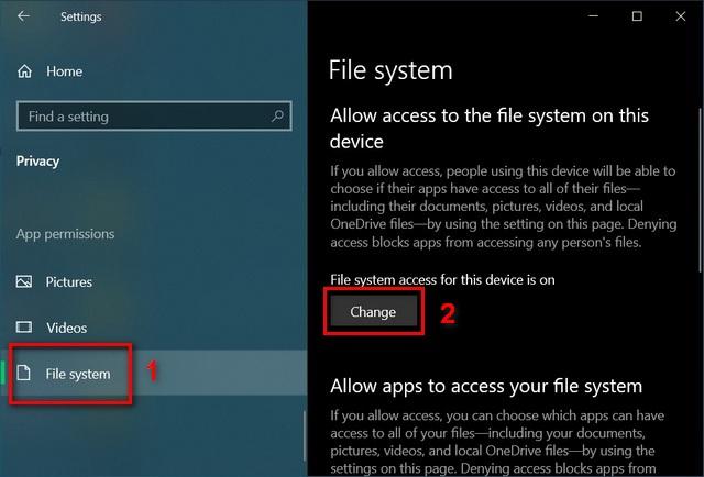 Windows 10 file system settings