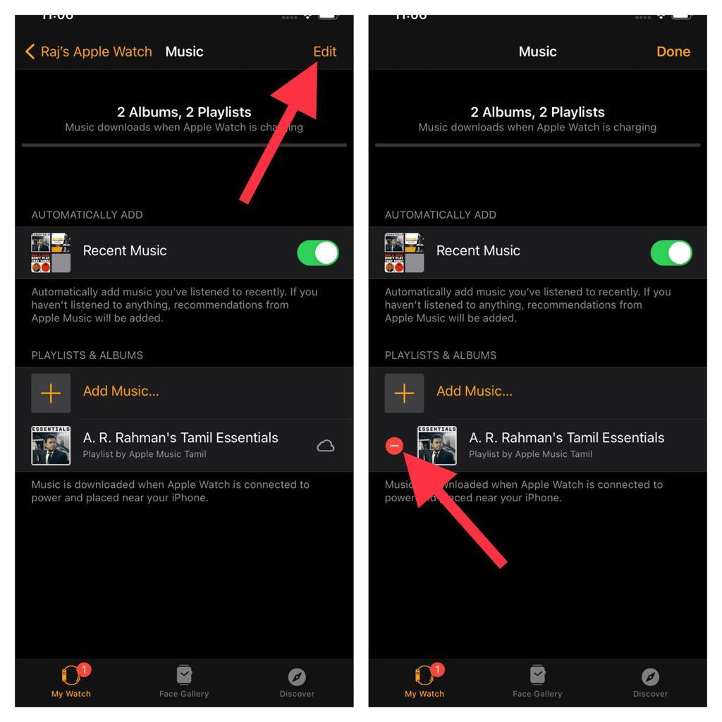 Delete music on Apple watch