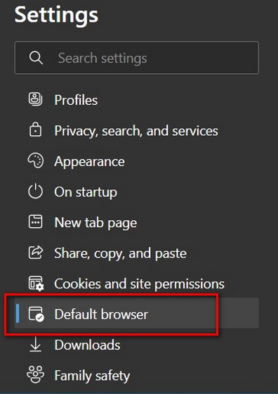 Edge settings for default browser