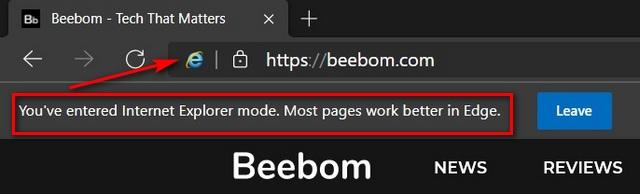Beebom.com in IE Mode