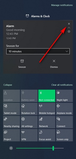 dismiss notifications from windows 10 action center