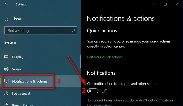 change notification settings Disable Notifications in Windows 10