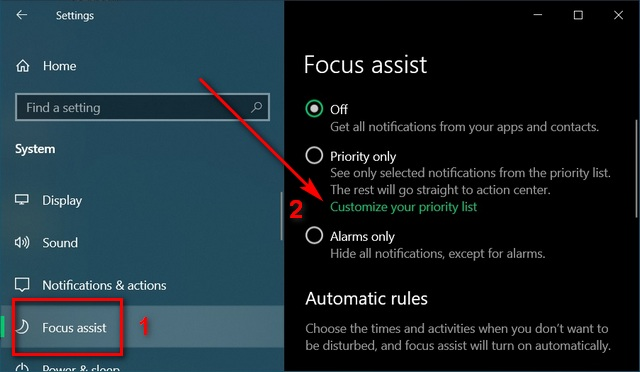 focus assist setting priority only mute notifications temporarily