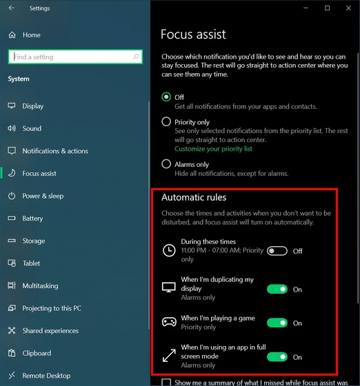 focus assist settings automatic rules