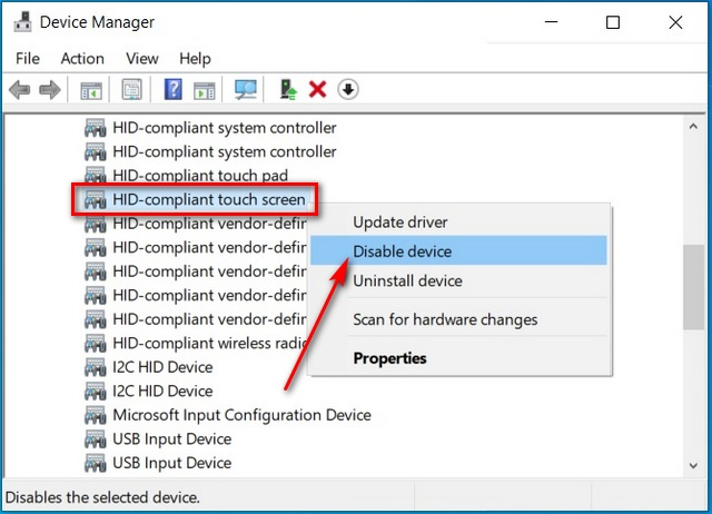 Disable Touchscreen in Windows 10