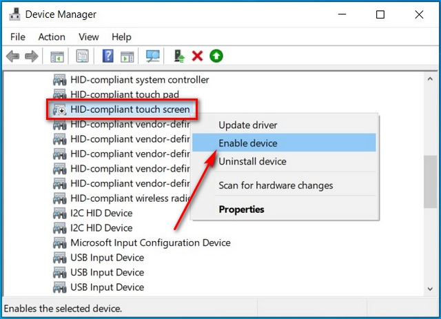 Enable Touchscreen in Windows 10