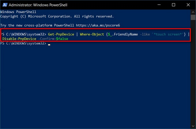 PowerShell Disable Touchscreen in Windows 10
