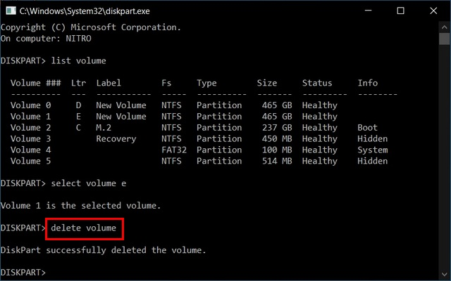 delete volume Merge Multiple Hard Disk Partitions Using Diskpart