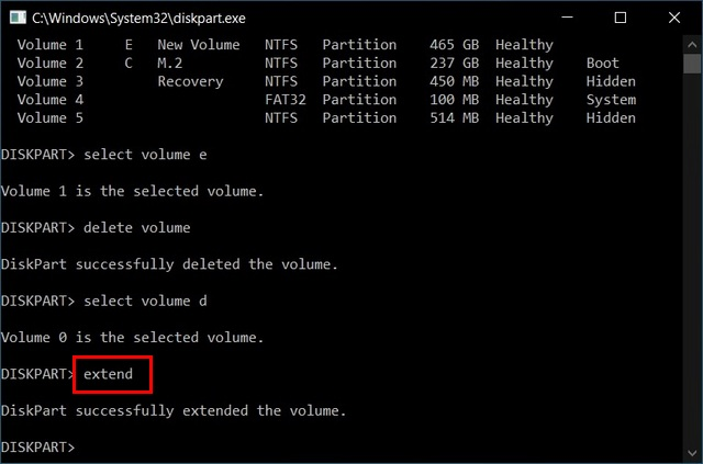 Merge Multiple Hard Disk Partitions Using Diskpart
