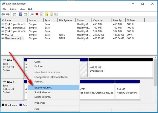 Merge Multiple Hard Disk Partitions in Windows 10 extend volume