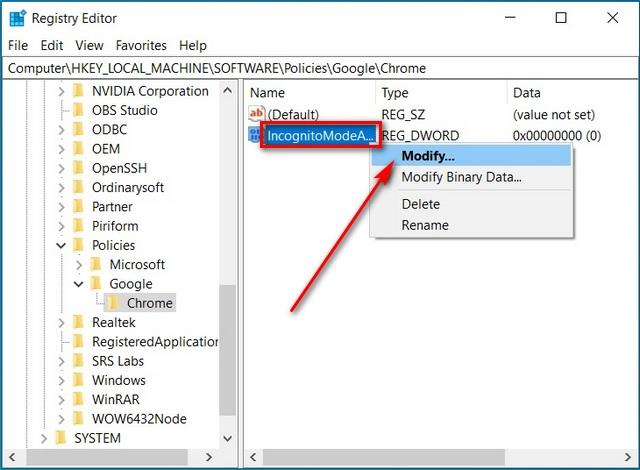 Open Google Chrome in Incognito Mode