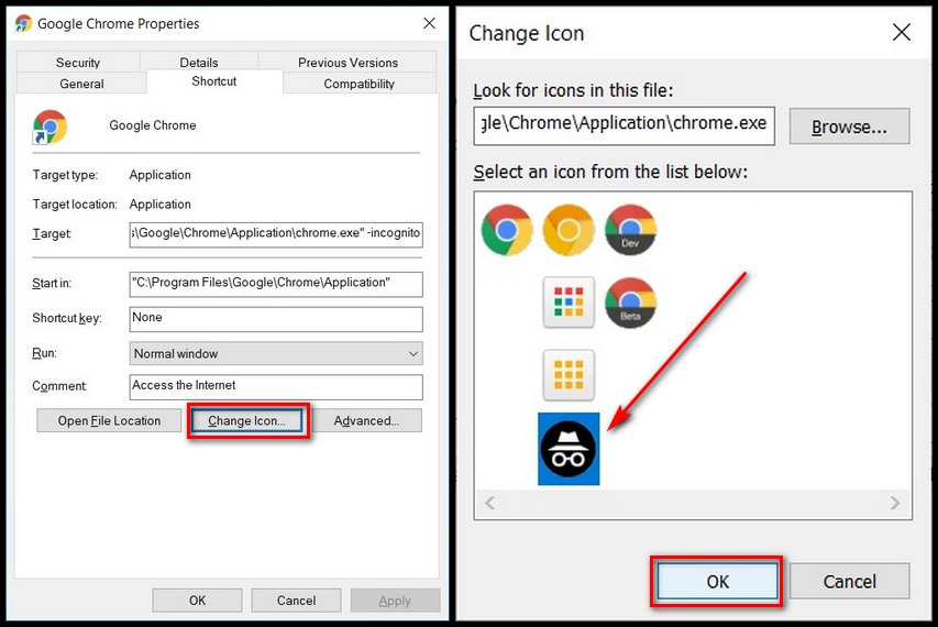 Google Chrome change shortcut icon