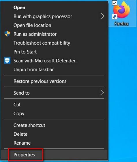 Mozilla Firefox shortcut properties