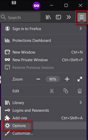 Open Mozilla Firefox settings