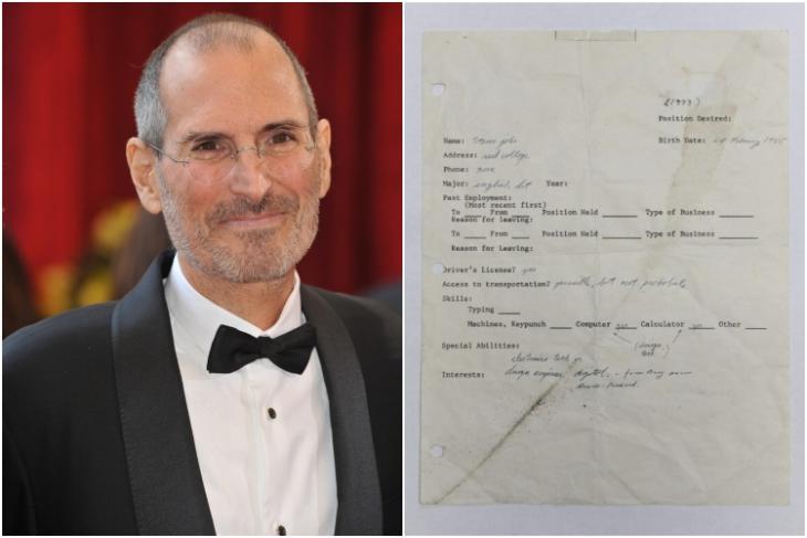 Apple co-founder Steve jobs hand written job application feat.