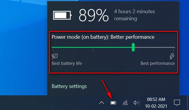 Change the Power Mode to improve battery life