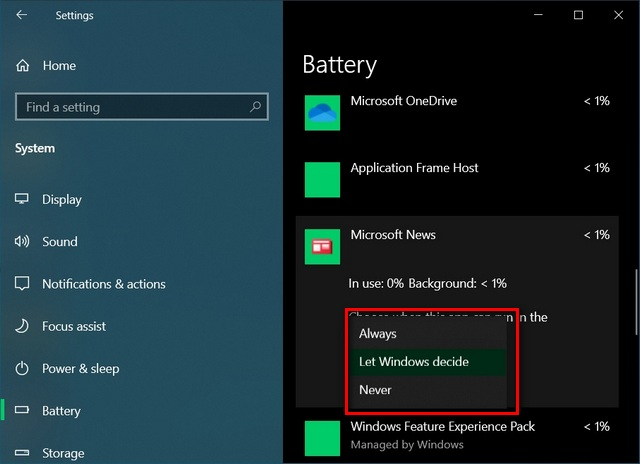 Detect and Disable Battery-draining Apps to improve battery life in Windows 10