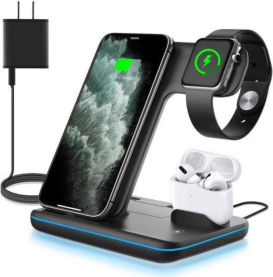 WAITIEE Wireless Charger, 3 in 1 Qi-Certified 15W Fast Charging Station for Apple iWatch Series