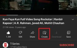 YouTube Adds a 'Create' Button for Shorts in Player Interface
