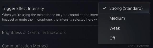 adjust ps5 dualsense controller adaptive trigger intensity