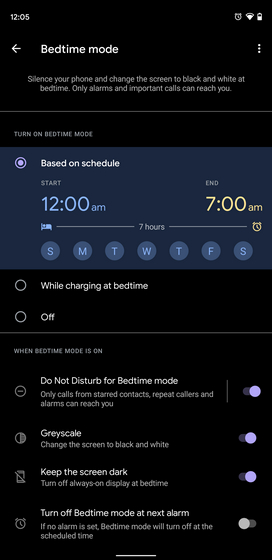 bedtime mode features