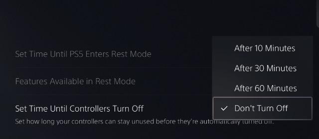 choose auto turn off time dualsense controller