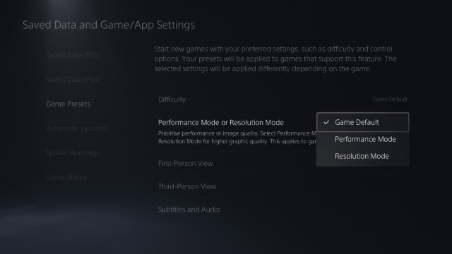 choose game preset resolution or performance