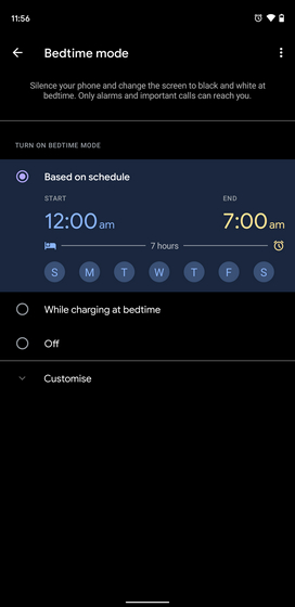 configure bedtime mode based on schedule