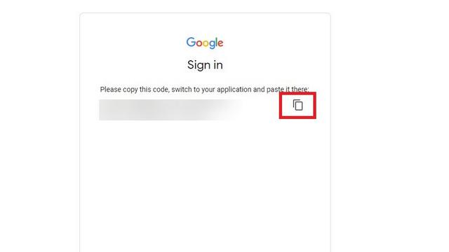 copier le code d'authentification