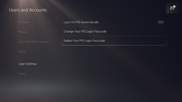 delete ps5 login passcode