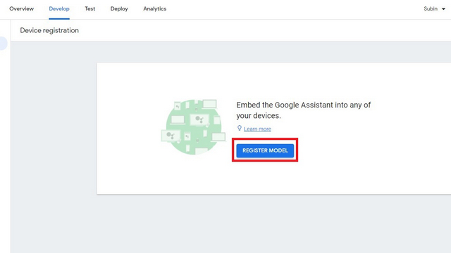 device registration page for assistant