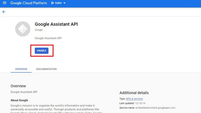 enable google assistant api