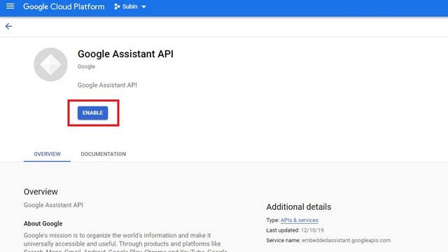 activer l'API de l'assistant google