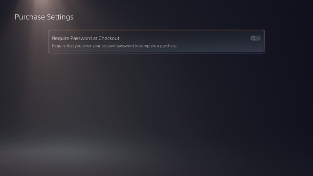 enable require password to checkout ps5