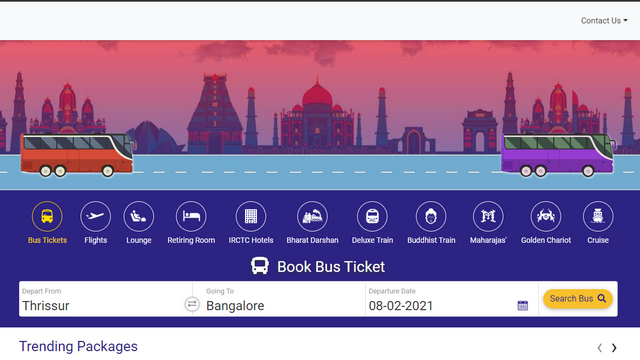 irctc bus home page