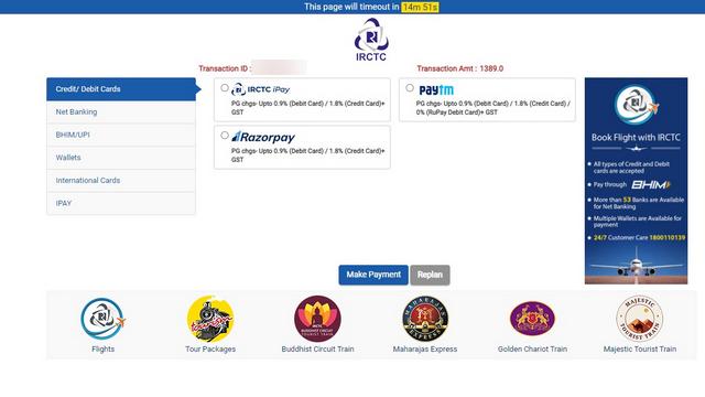 irctc bus website payment modes