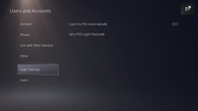 ps5 login settings