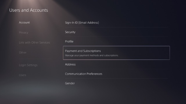 ps5 payments and subscription settings