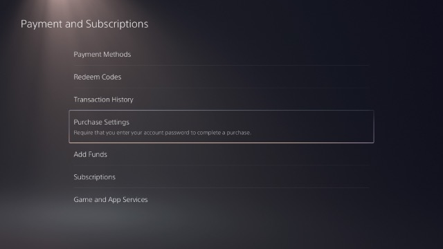 ps5 purchase settings