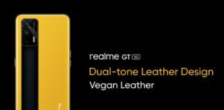 realme GT 5G leather design teased