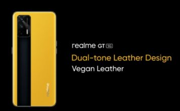 realme GT 5G leather design teased